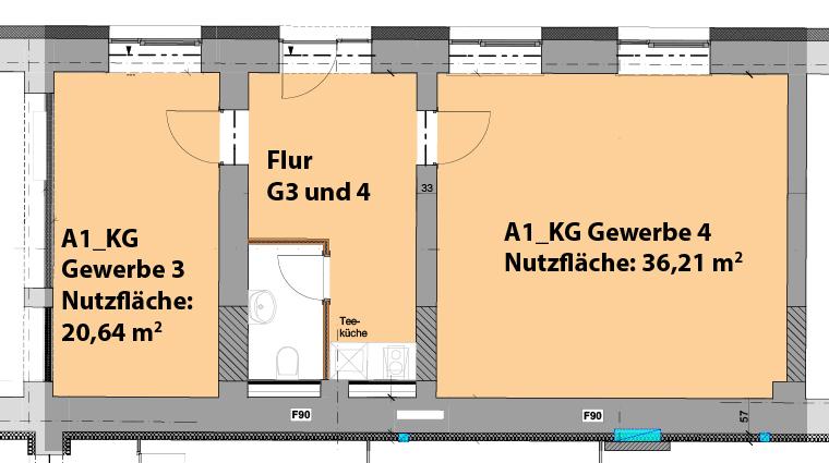 Grundriss Gewerberäume 3 und 4